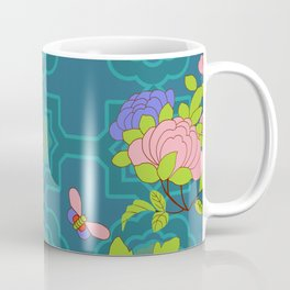 Nonya Peonies and butterfly Coffee Mug