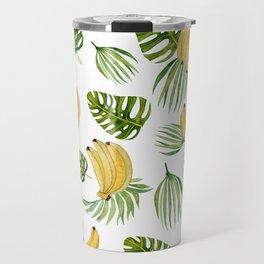 Tropical green yellow leaves fruity banana watercolor Travel Mug