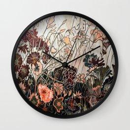 Woodcut Field of Flowers in Orange/Red Wall Clock