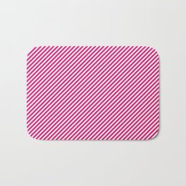Mini Hot Neon Pink and White Candy Cane Stripes Bath Mat