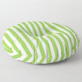 Green and White Cabana Stripes Palm Beach Preppy Floor Pillow
