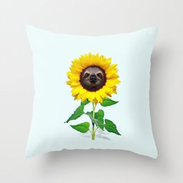 Slothflower Throw Pillow