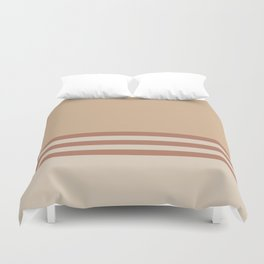 Cavern Clay SW 7701 and Creamy Off White SW7012 Horizontal Stripes on Ligonier Tan SW 7717 Duvet Cover