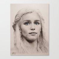 targaryen Canvas Prints featuring Daenerys Targaryen  by Maddy Kouns