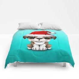 Christmas Bulldog Puppy Wearing a Santa Hat Comforters