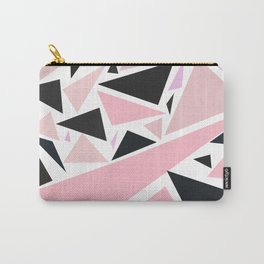Artistic pink black abstract triangles pattern Carry-All Pouch
