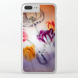 painted tulips on pastell background -b- Clear iPhone Case