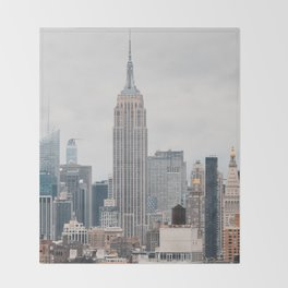Empire State Building in grey Throw Blanket
