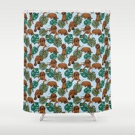 Tropical Redbone Coonhound Shower Curtain