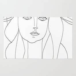 Picasso Line Art - Woman's Head Rug