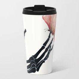 Butterfly on Skeleton Hand Travel Mug