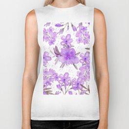 Watercolor lavender lilac brown modern floral Biker Tank