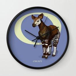 O is for Okapi: Under Appreciated Animals™ ABC nursery decor purple unusual animals Wall Clock