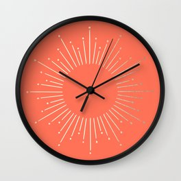 Simply Sunburst in Deep Coral Wall Clock