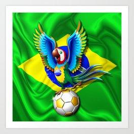 Brazil Macaw Parrot with Soccer Ball Art Print