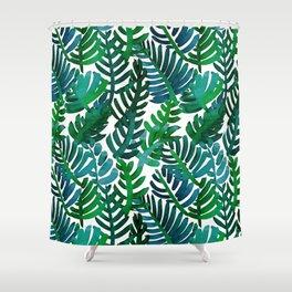 Round Palm Blue Green Shower Curtain