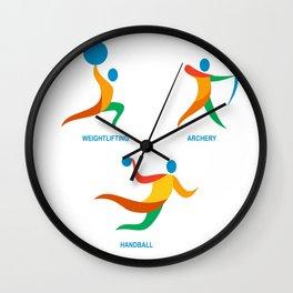Archery Weightlifting Handball Icon Wall Clock