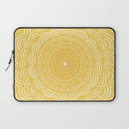 Spiral Mandala (Yellow Golden) Curve Round Rainbow Pattern Unique Minimalistic Vintage Zentangle Laptop Sleeve