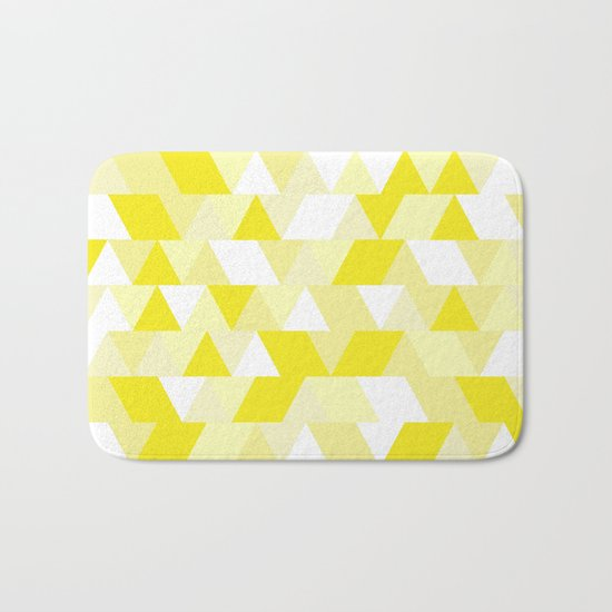 Simple Geometric Triangle Pattern- White on Yellow- Mix & Match with Simplicity of life Bath Mat