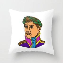 Emperor Napoleon Bonaparte Mono Line Throw Pillow