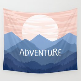 Adventure Sunset Vector Landscape Wall Tapestry
