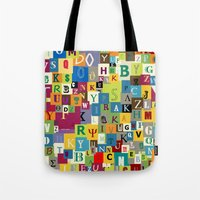 alphabet Tote Bags featuring Alphabet by Rceeh