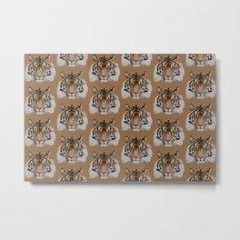 Tiger Head Pattern Metal Print