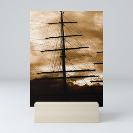 Tall ship mast Mini Art Print