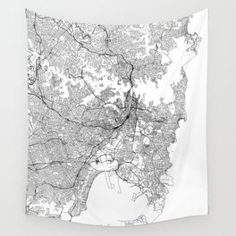 Sydney White Map Wall Tapestry
