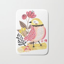 Little Birdy on a Log Bath Mat
