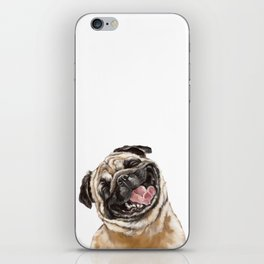 Happy Laughing Pug iPhone Skin