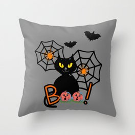 Happy Whimsical Halloween Throw Pillow