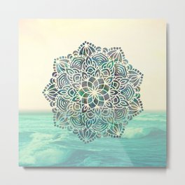 Mandala Mermaid Oceana Metal Print