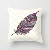feather Throw Pillows featuring FEATHER by Monika Strigel®