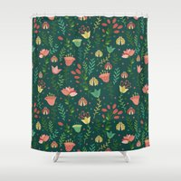 floral pattern Shower Curtains featuring Floral pattern by Julia Badeeva