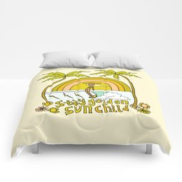 stay golden sun child //retro surf art by surfy birdy Comforters