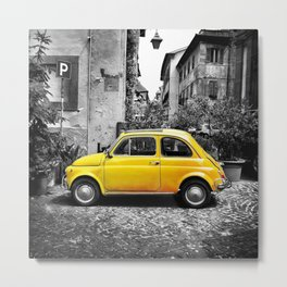 Fiat 500 Yellow Metal Print