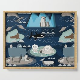 Arctic animals blue Serving Tray