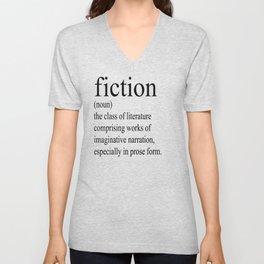 Fiction Definition (Black on White) Unisex V-Neck