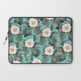 White Camellia Floral On Teal Pattern Laptop Sleeve