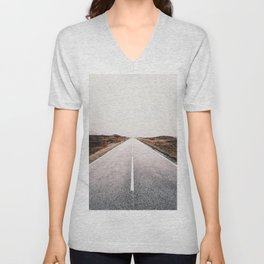 ROAD - HIGH WAY - LANDSCAPE - PHOTOGRAPHY - NATURE - ADVENTURE - SKY Unisex V-Neck