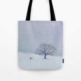 A walk in the snow. Tote Bag