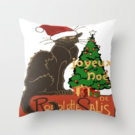 Joyeux Noel Le Chat Noir With Tree And Gifts Throw Pillow