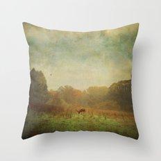 Idyllic painterly fall morning Throw Pillow