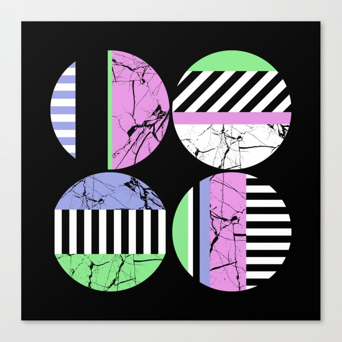 AMPS Uno - Abstract Marble Pastel Stripes Canvas Print