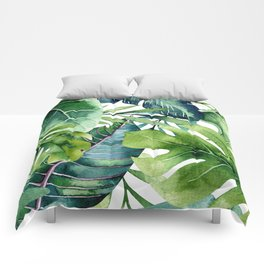 Tropical Jungle Leaves Comforters