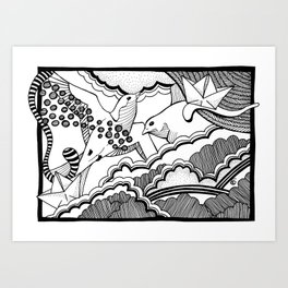 Swallows in the clouds Art Print