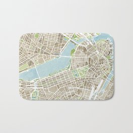 Boston Sepia Watercolor Map Bath Mat