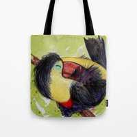 toucan Tote Bags featuring Toucan by Pendientera