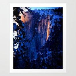 Yosemite Fire Falls, Horse Tail Falls, El Capitan Art Print